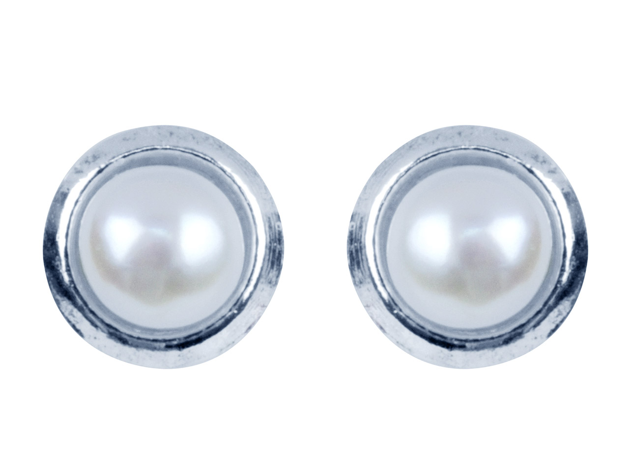 Sterling Silver White Freshwater   Button Pearl Earrings