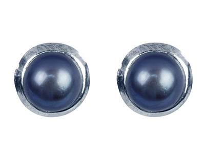 Sterling Silver Black Freshwater   Button Pearl Earrings