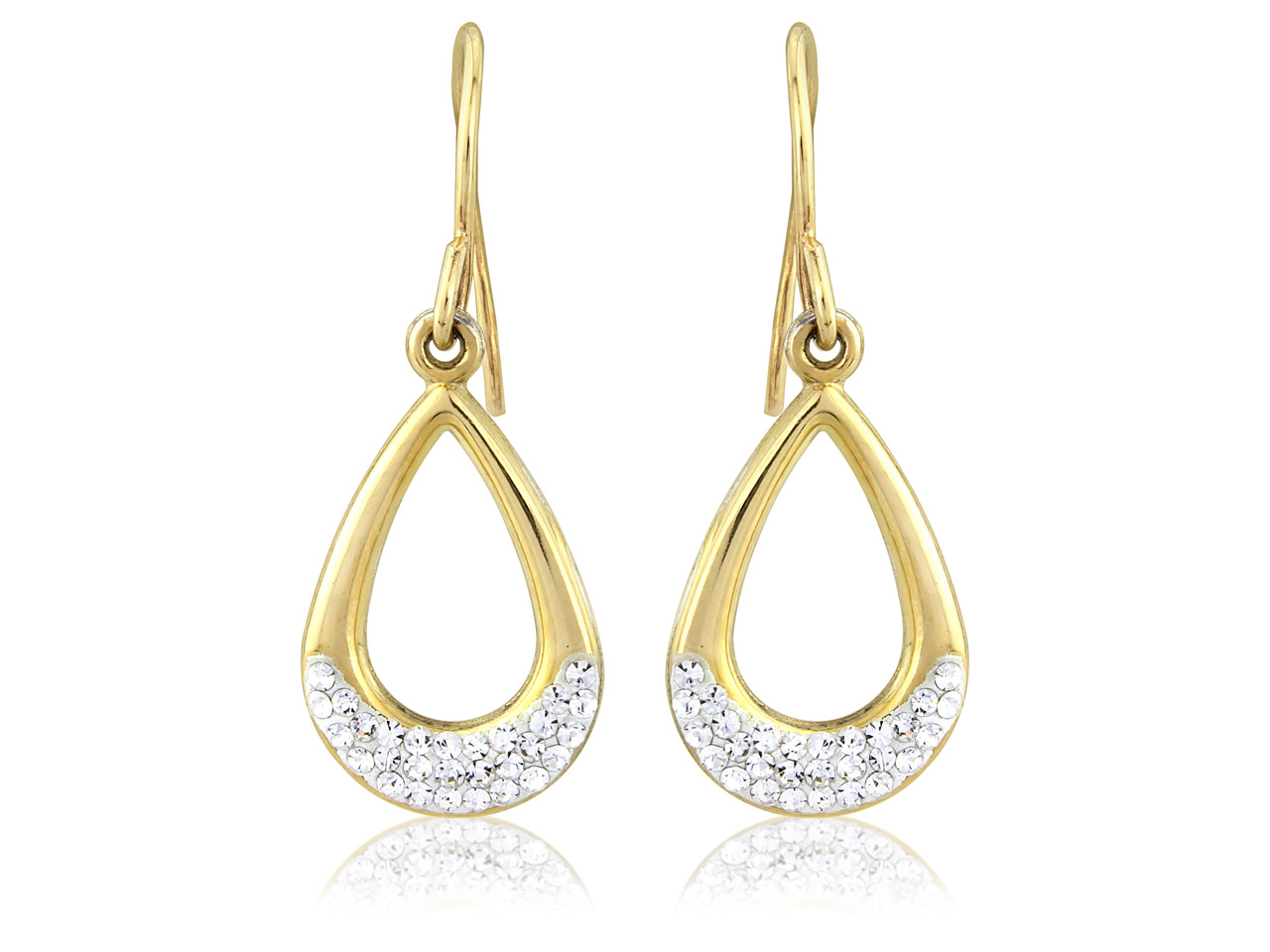 9ct Yellow And Sterling Silver     White Crystal Earrings