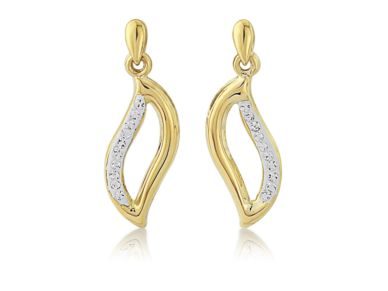 Sterling Silver 9ct Yellow Crystal Wave Drop Earrings