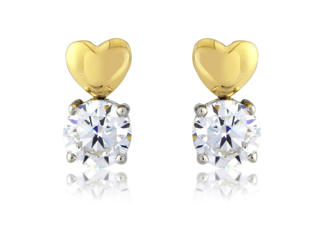 Sterling Silver 9ct Yellow         Cubic Zirconia Set Heart Stud      Earrings