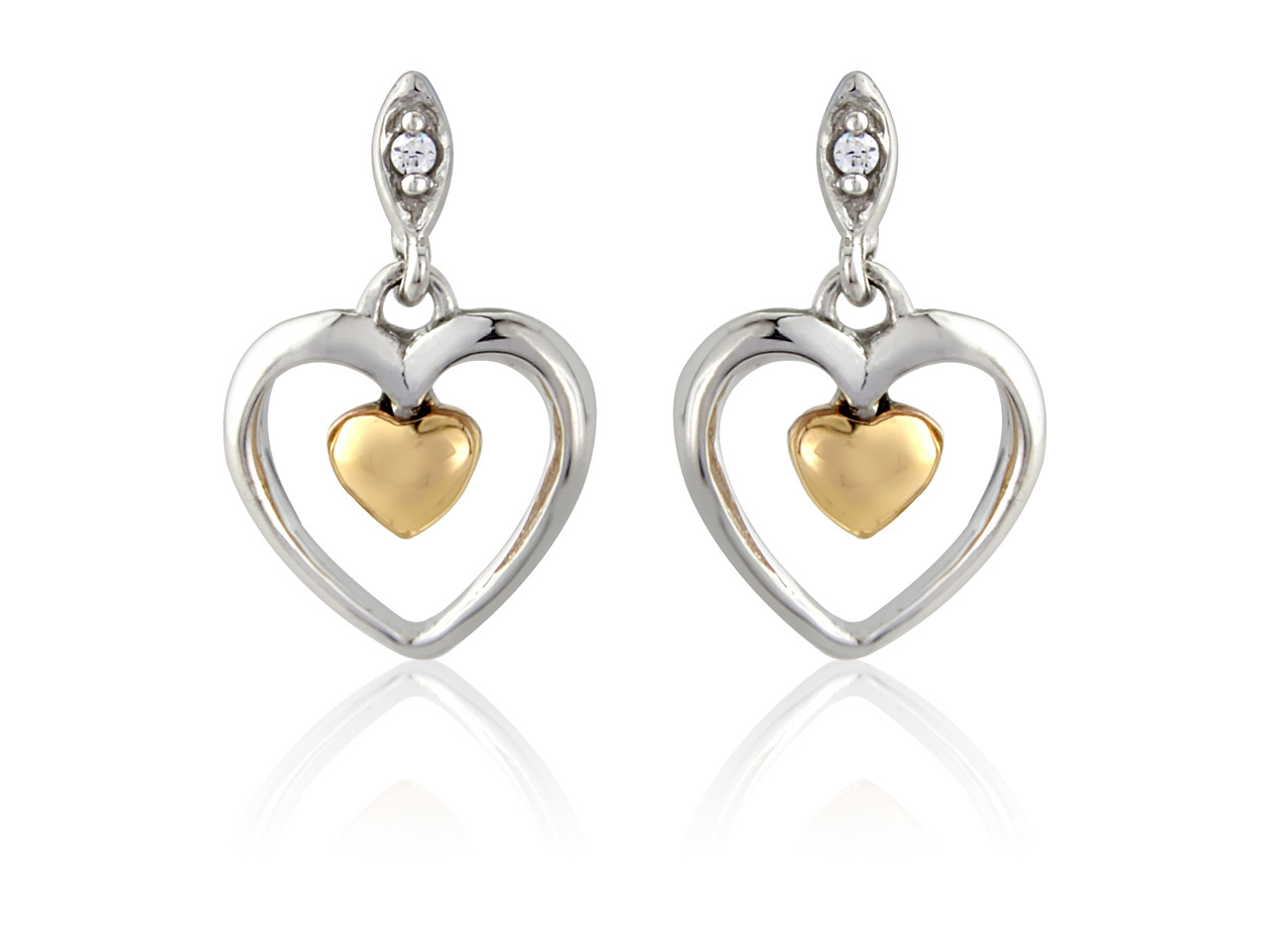 Sterling Silver 9ct Red            Cubic Zirconia Set Mini Heart Drop Earrings