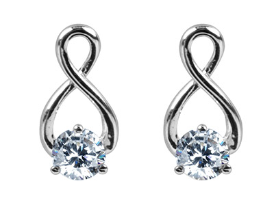 Silver Cubic Zirconia Twisted Earrings