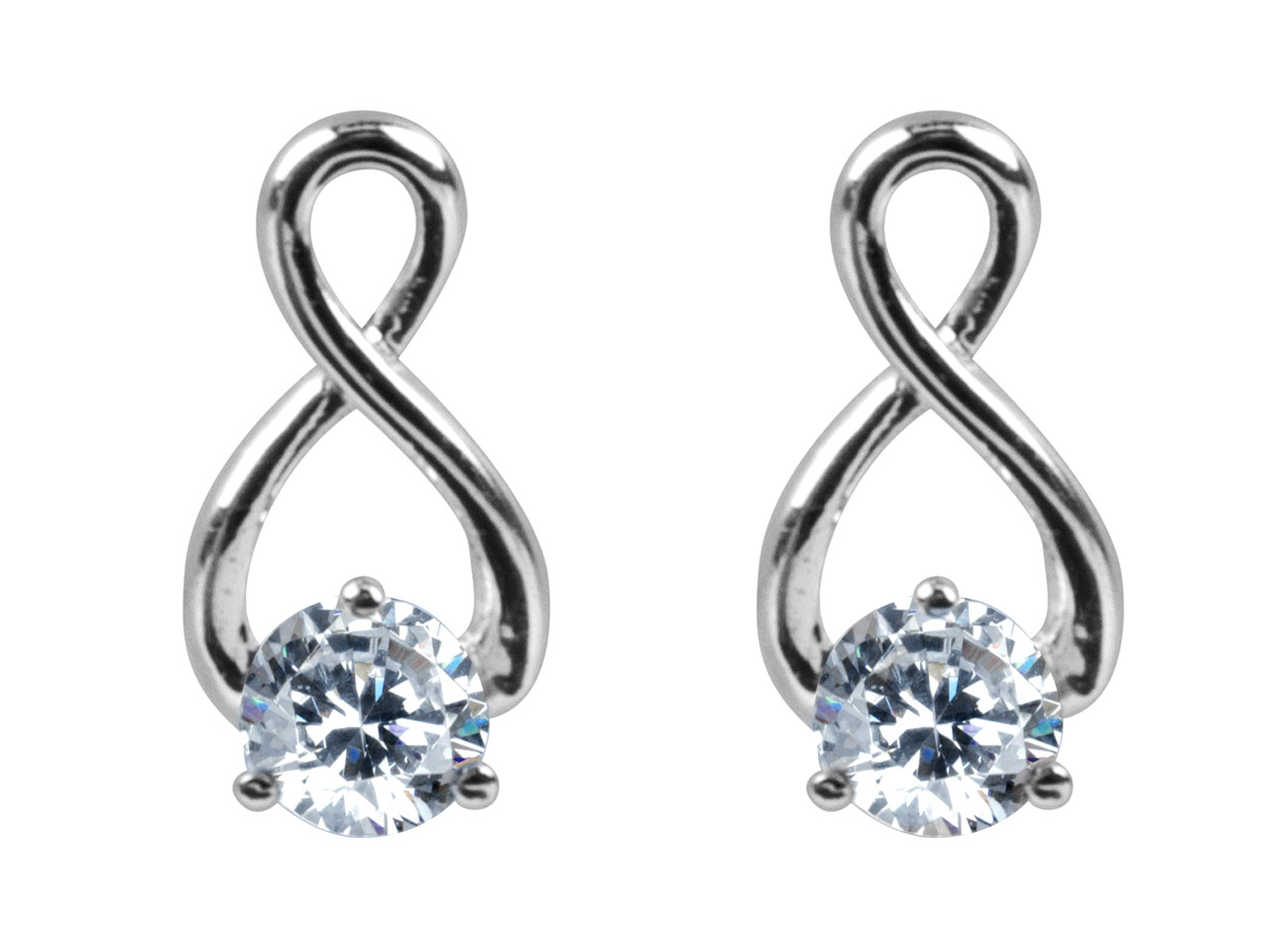 Sterling Silver Earrings           Cubic Zirconia Twisted