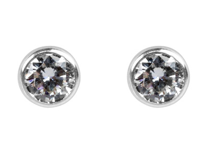 Sterling Silver Earrings Round 3mm Cubic Zirconia Bezel Stud