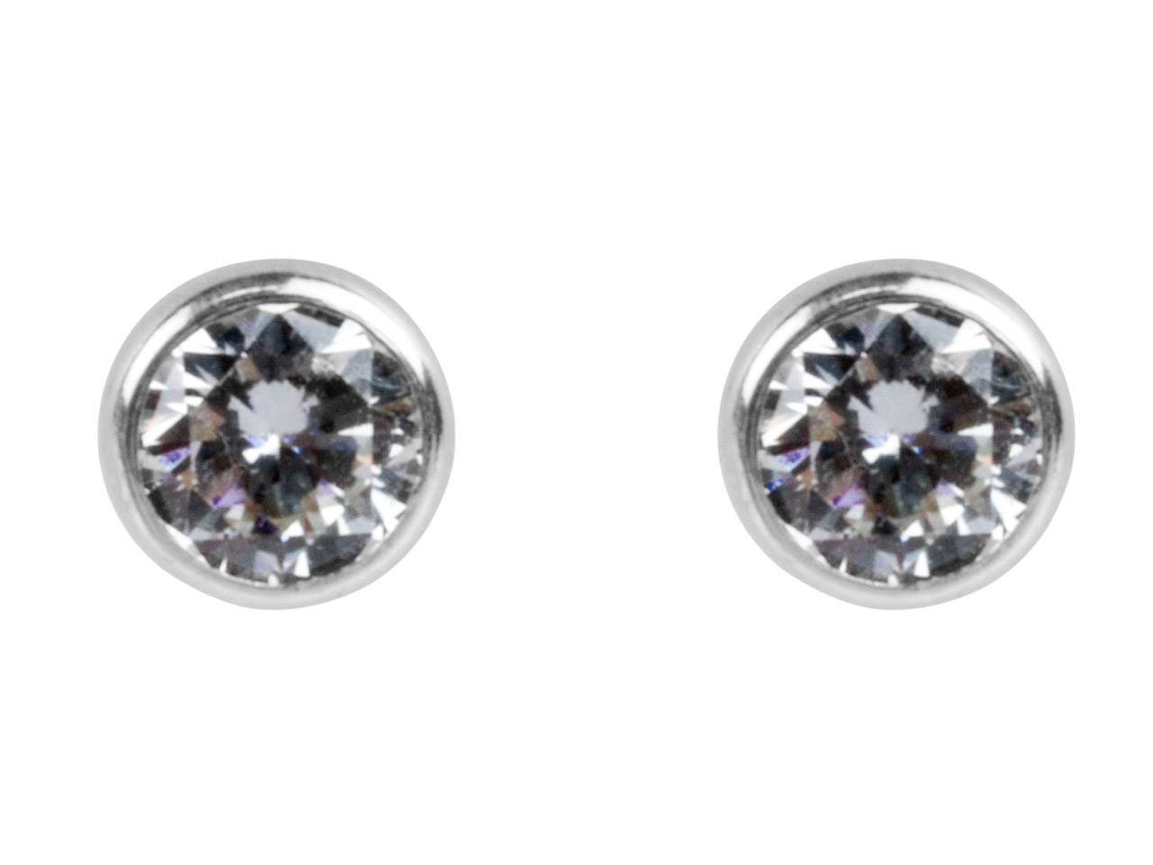 Sterling Silver Earrings Round 4mm Cubic Zirconia Bezel Stud