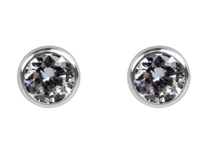 Silver Round 5mm Cubic Zirconia Bezel Stud Earrings