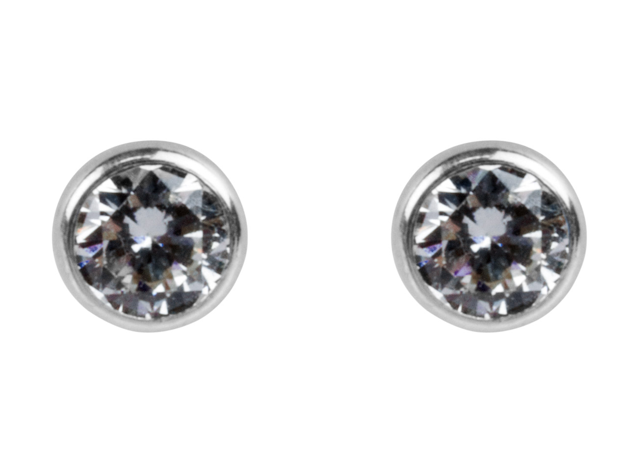 Sterling Silver Earrings Round 5mm Cubic Zirconia Bezel Stud