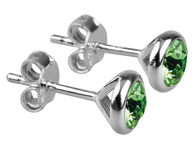 Sterling Silver Earrings August    Birthstone 4mm Peridot Crystal