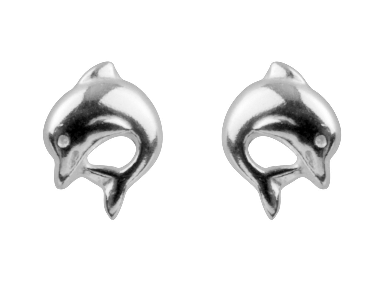 Sterling Silver Earrings Dolphin   Stud