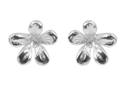 Sterling-Silver-Earrings-Flower----Stud