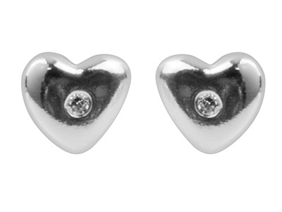 Sterling Silver Earrings           Cubic Zirconia Heart Stud