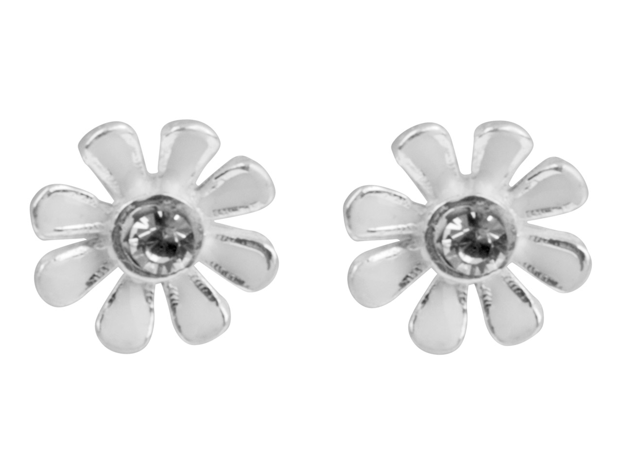 Sterling Silver Earrings           Cubic Zirconia White Enamel Flower Stud
