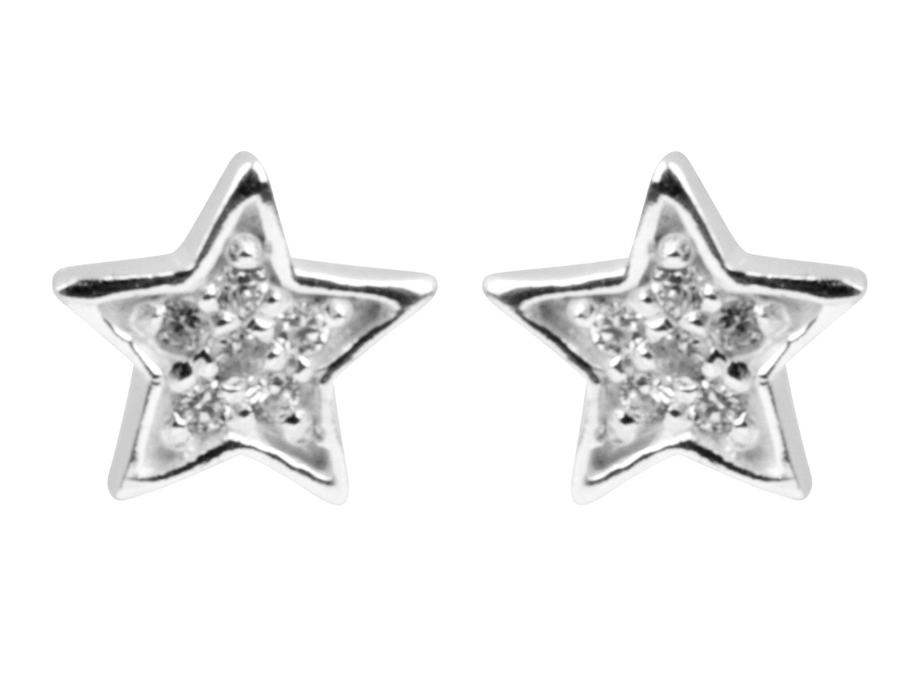 Sterling Silver Earrings           Cubic Zirconia Star Stud