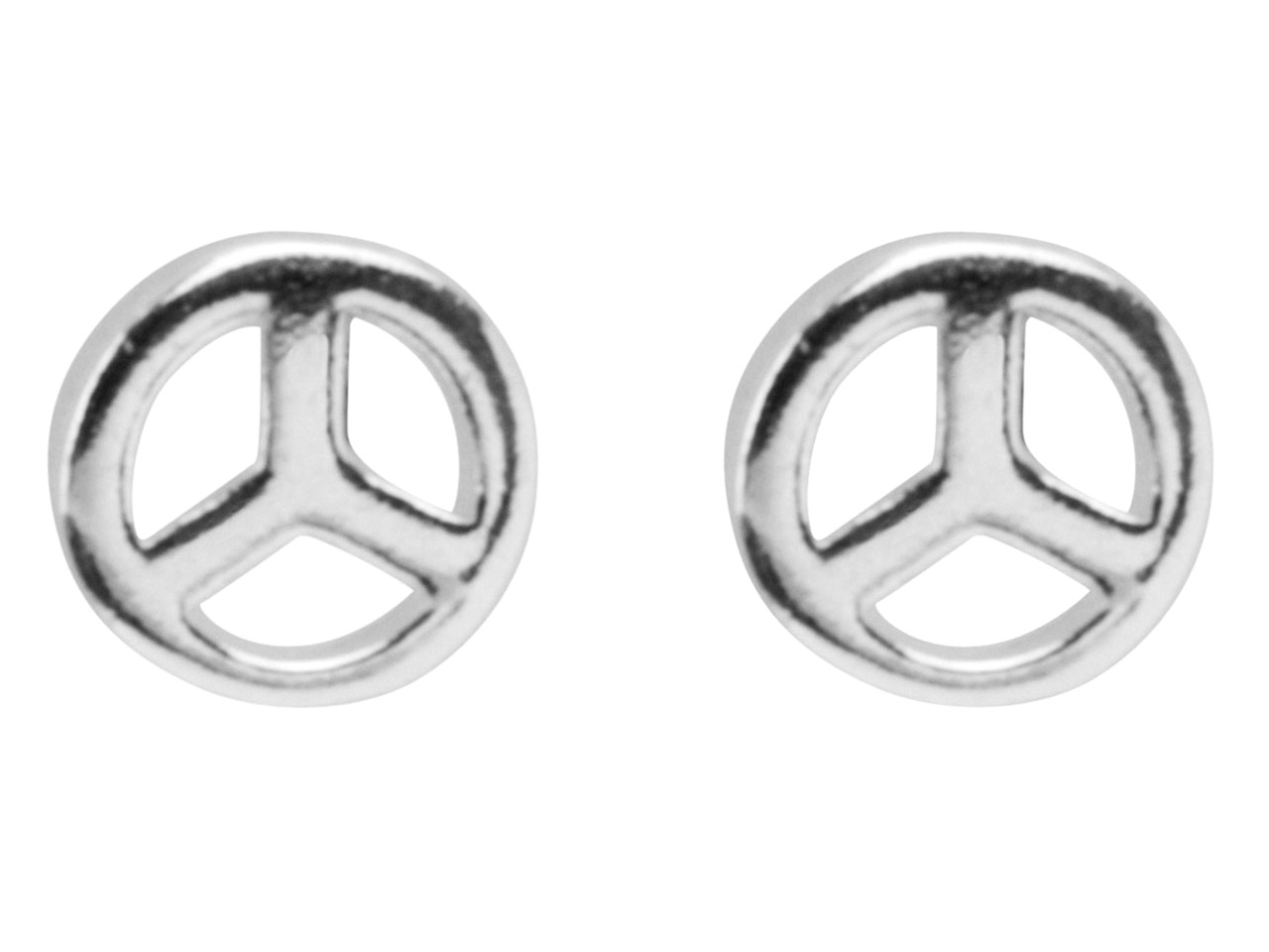 Sterling Silver Earrings Peace Sign Stud