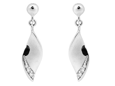 Sterling Silver Earrings           Cubic Zirconia Leaf 3 Graduated    White Czs