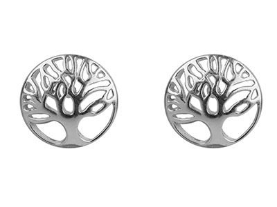 Sterling Silver Earrings Tree Of   Life Stud