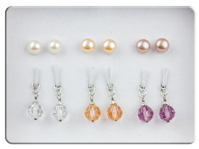 Sterling Silver Earrings Swarovski Crystal Set Freshwater Pearl       Interchangeable