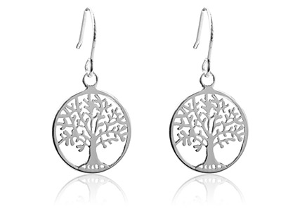 Sterling Silver Earrings Tree Of   Life Drop