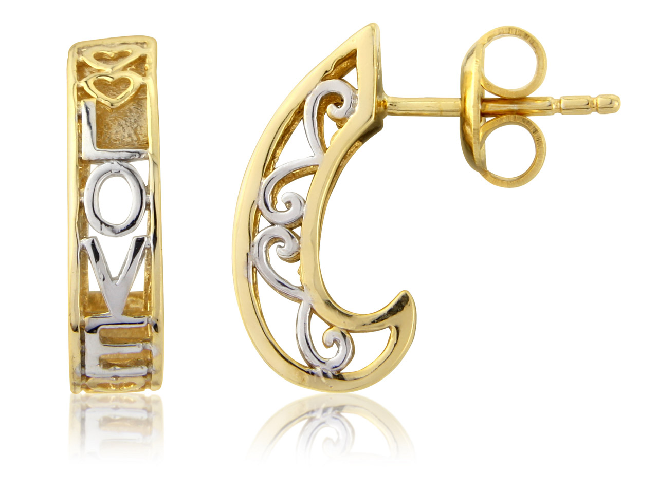 Sterling Silver Earrings           Gold Plated Love Design