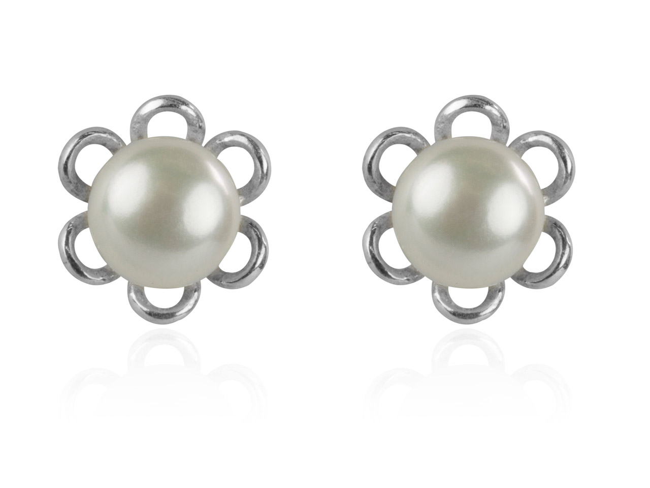 Sterling Silver Earrings Flower    Design Stud Cultured Freshwater    Pearl