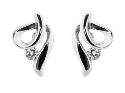 Sterling Silver Earrings Swirl 2mm White Cubic Zirconia