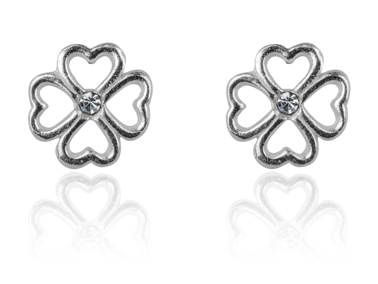 Sterling Silver Earrings Open      Flower Design Stud White Crystal   Centre
