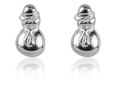 Sterling Silver Earrings Snowman   Stud