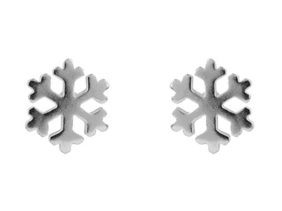 Sterling Silver Earrings Snowflake Stud