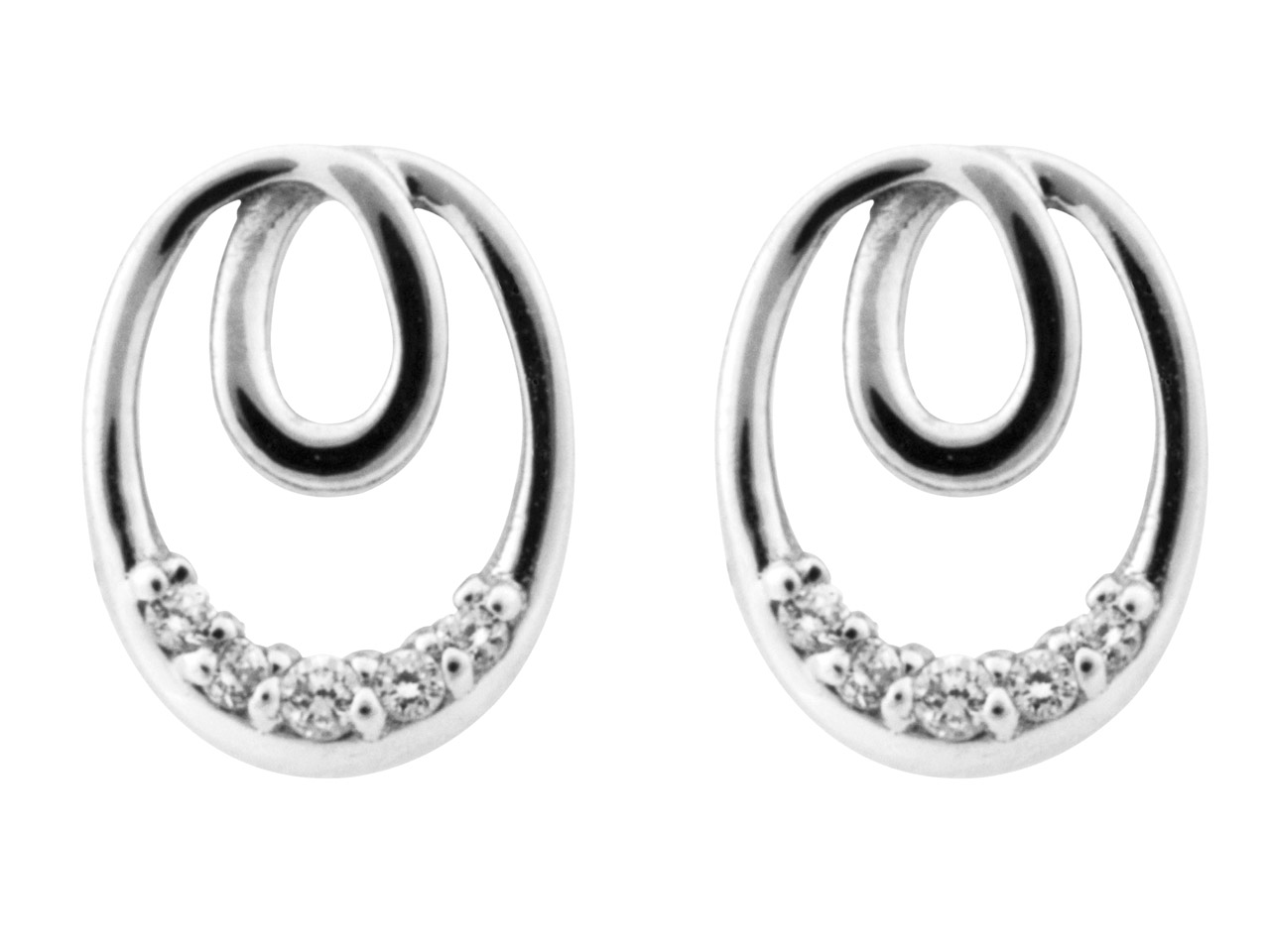Sterling Silver Earrings           Cubic Zirconia Eternal Loop 8      Graduated Cz's