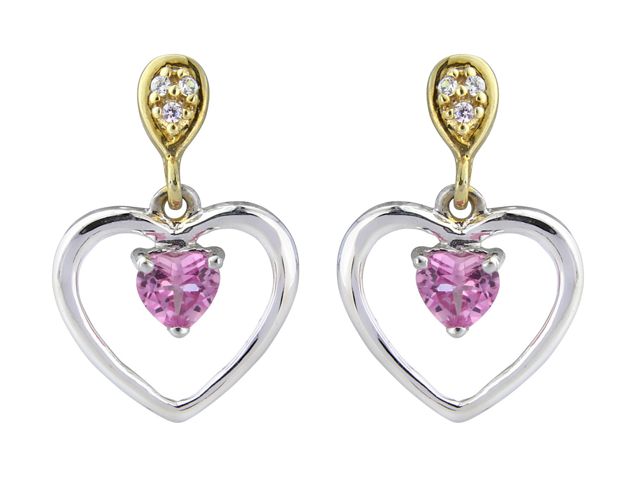 Sterling Silver Earrings Heart     Dropper Set With Created Pink      Sapphire And Cz's