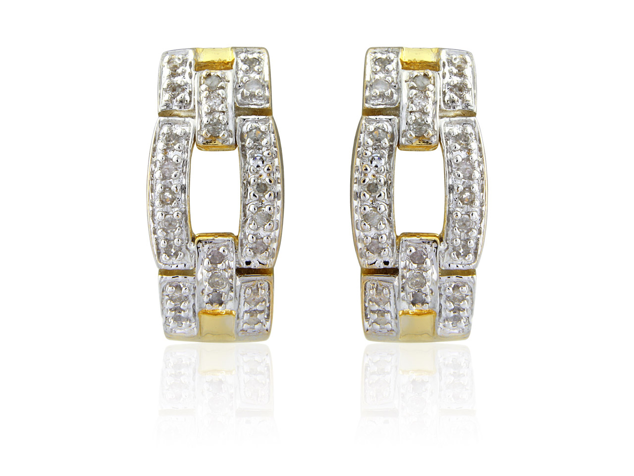 Sterling Silver Gold Plated 0.25ct Diamond Set Buckle Style Earrings