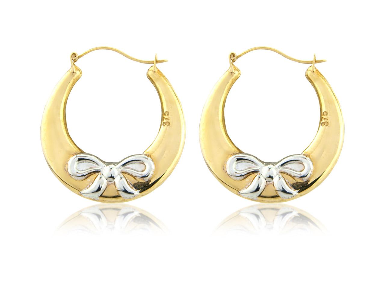 Sterling Silver Gold Plated Creole Earrings With Bow Detail