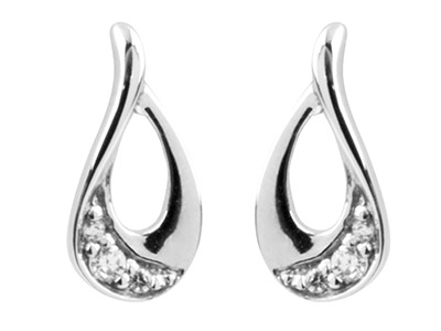 Sterling Silver Earrings            Cubic Zirconia Teardrop 3 Graduated White Czs