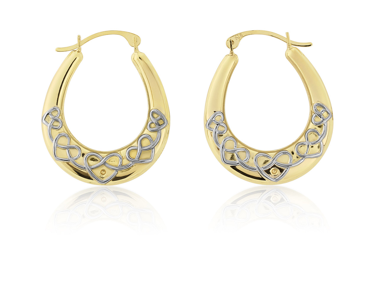 Sterling Silver Gold Plated Creole Earrings With Heart Pattern,       Cubic Zirconia Set