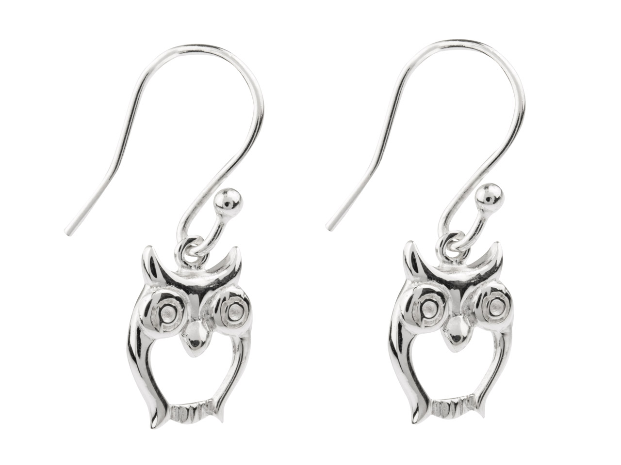 Sterling Silver Owl Drop Earrings