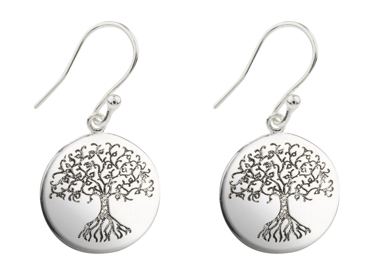 Sterling Silver Tree Of Life Etched Drop Earrings, Double Sided