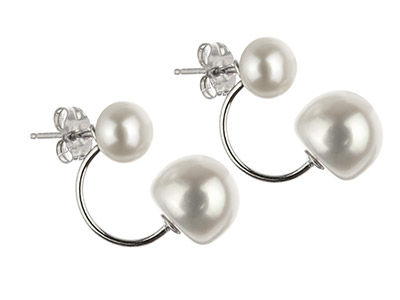 Sterling Silver White Button        Fresh Water Pearl Stud Earrings     With Interchangeable Pearl Set Drop