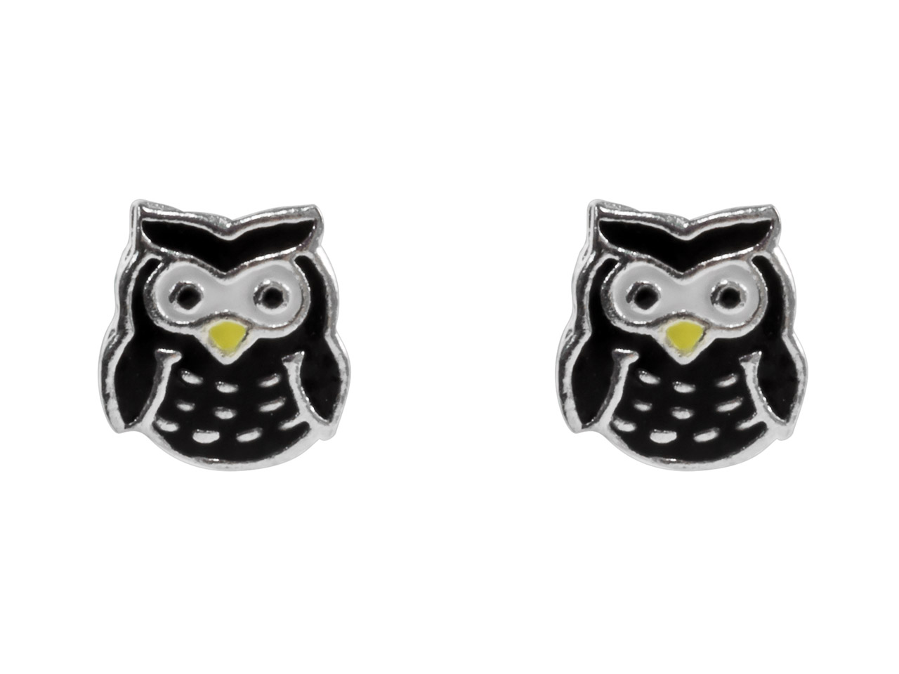 Sterling Silver Owl Enamel Stud    Earrings