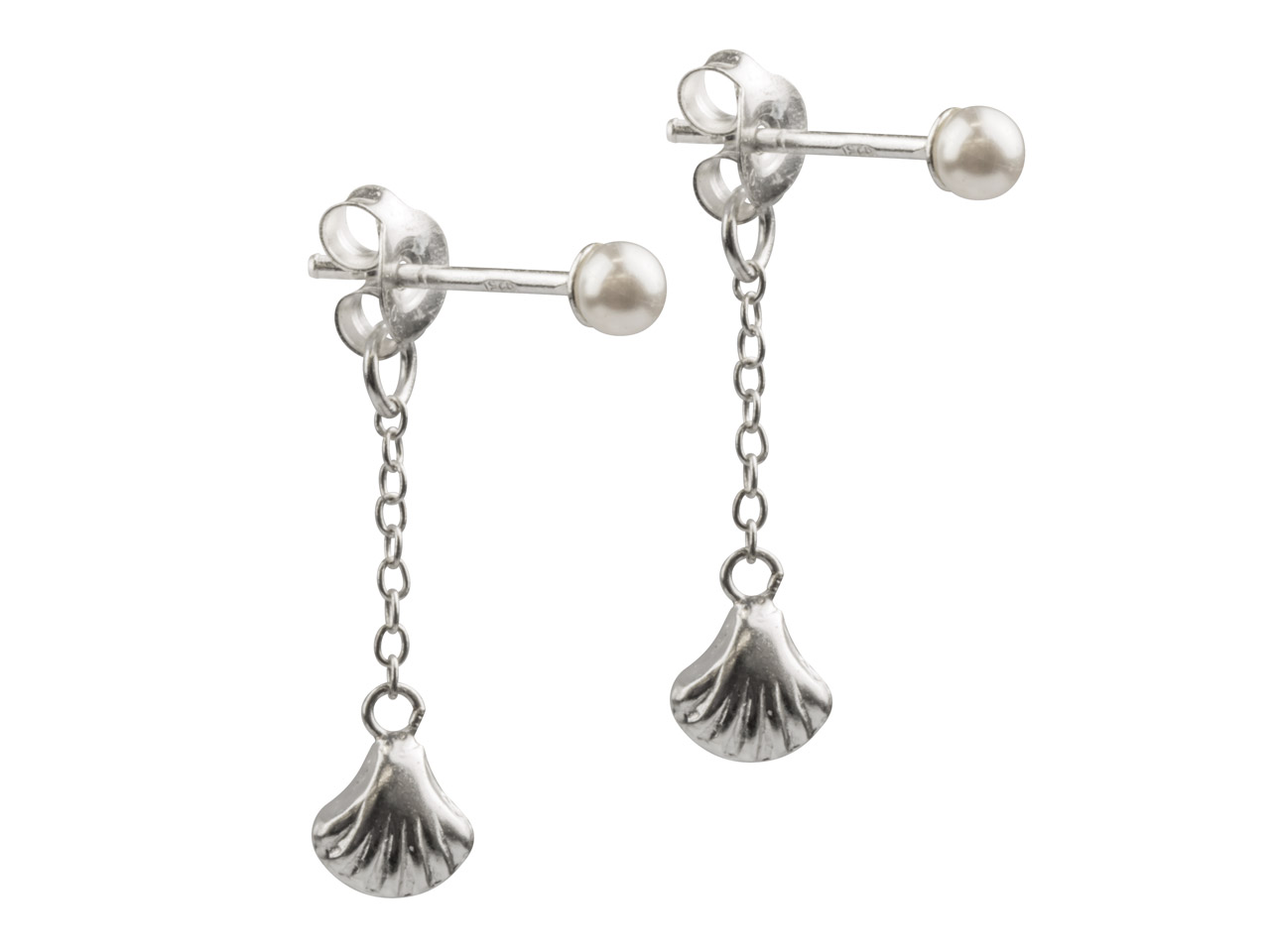 Sterling Silver Imitation Pearl    Stud Earrings With Shell Drop On   Scroll