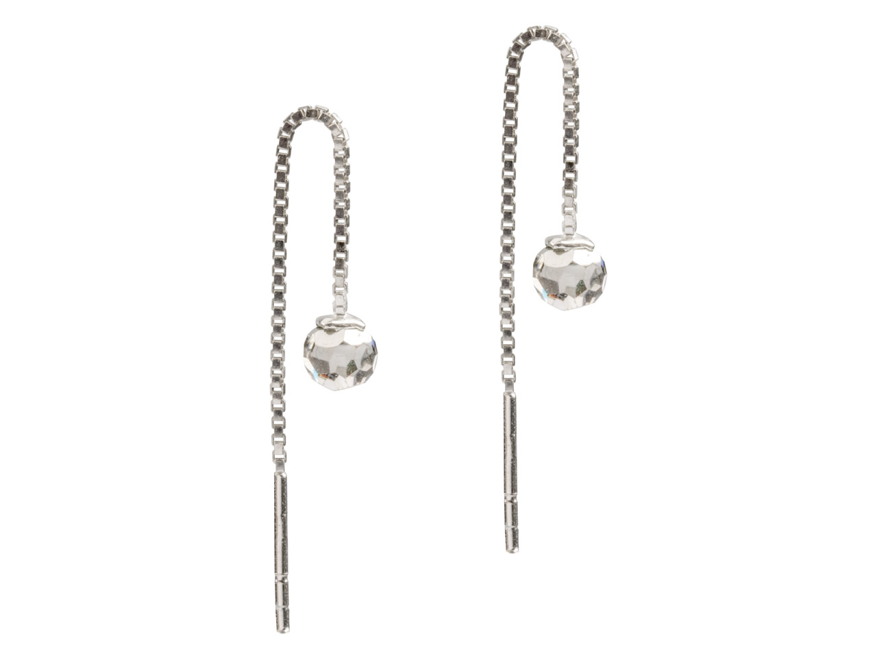 Sterling Silver Threadable Earrings With Crystal Ball