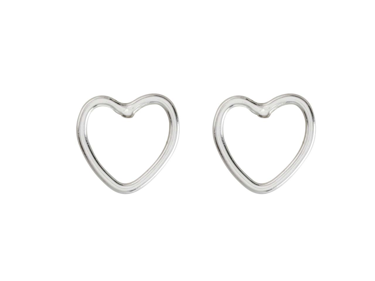 Sterling Silver Heart Outline Stud Earrings