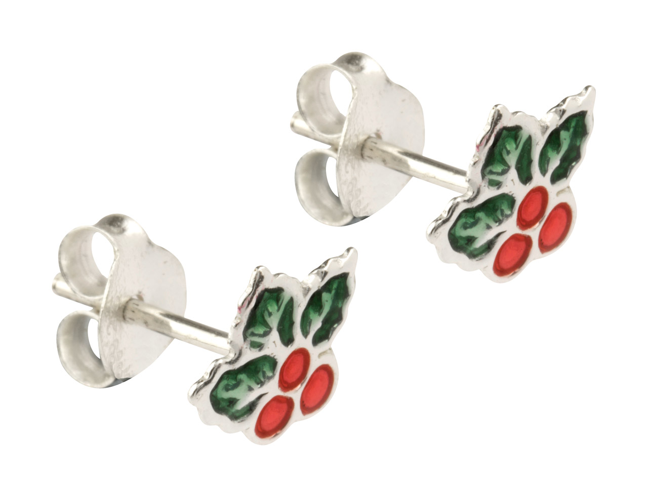 Sterling Silver Holly Enamel Stud  Earrings
