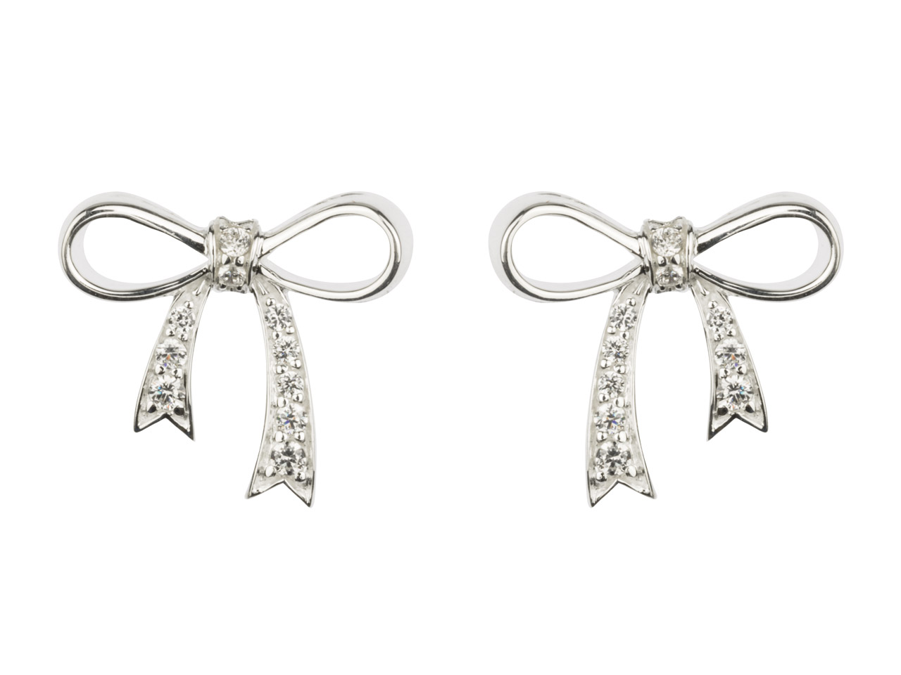 Sterling Silver Bow Stud Earring   Set With Cubic Zirconia