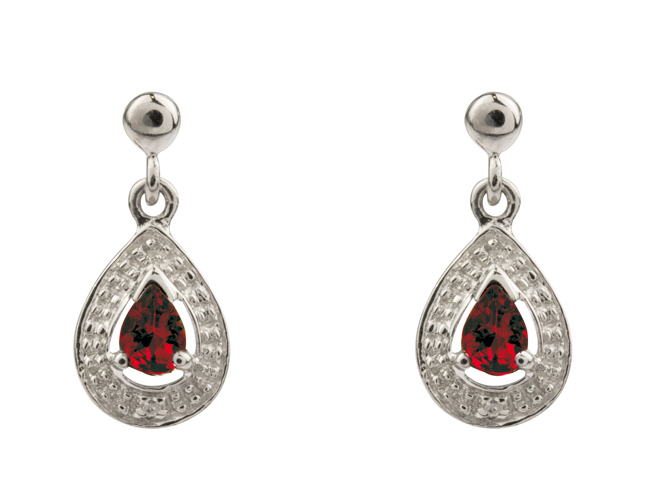 Sterling Silver Pear Shape Drop    Earrings With Ruby And Diamond
