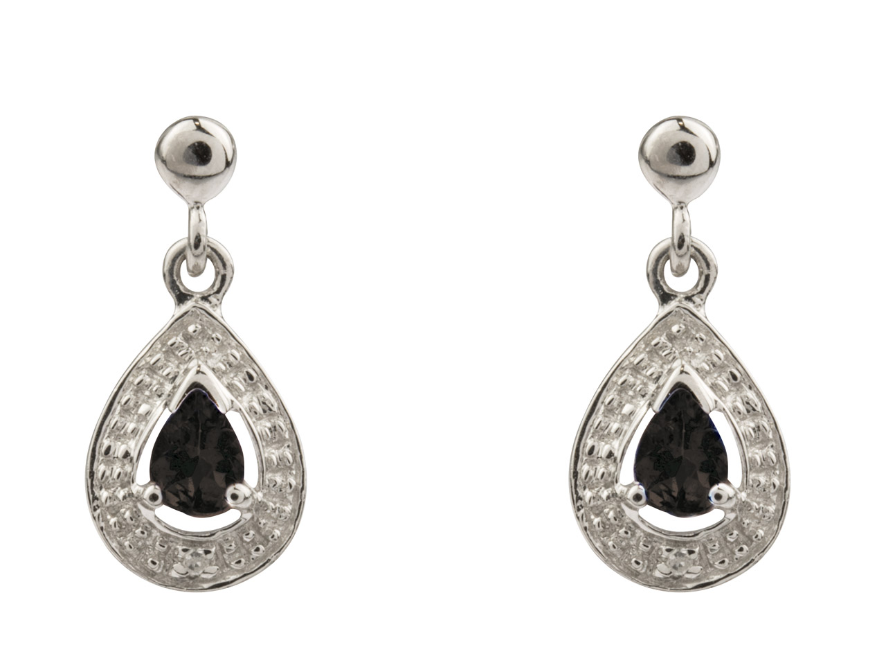 Sterling Silver Pear Shape Drop    Earrings With Sapphire And Diamond