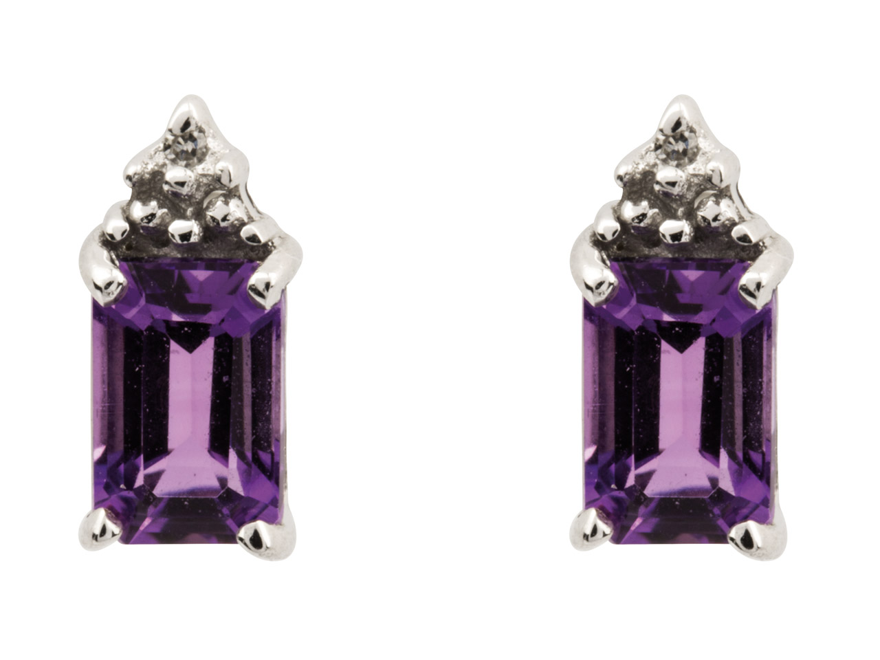 Sterling Silver Stud Earrings With Emerald Cut Amethyst And Diamond