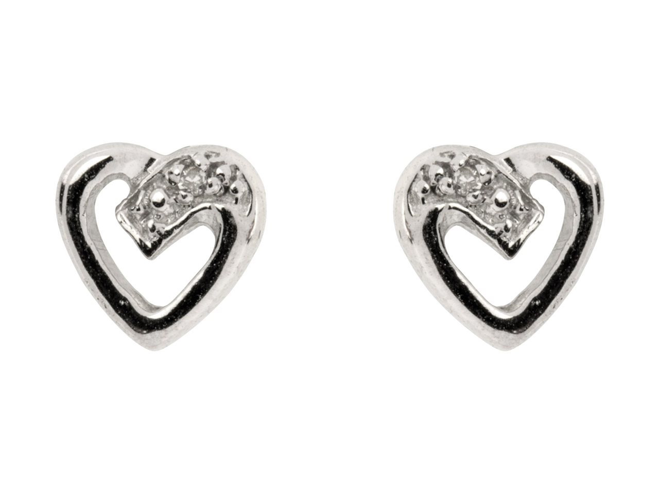 Sterling Silver Heart Outline Stud Earrings With Diamond