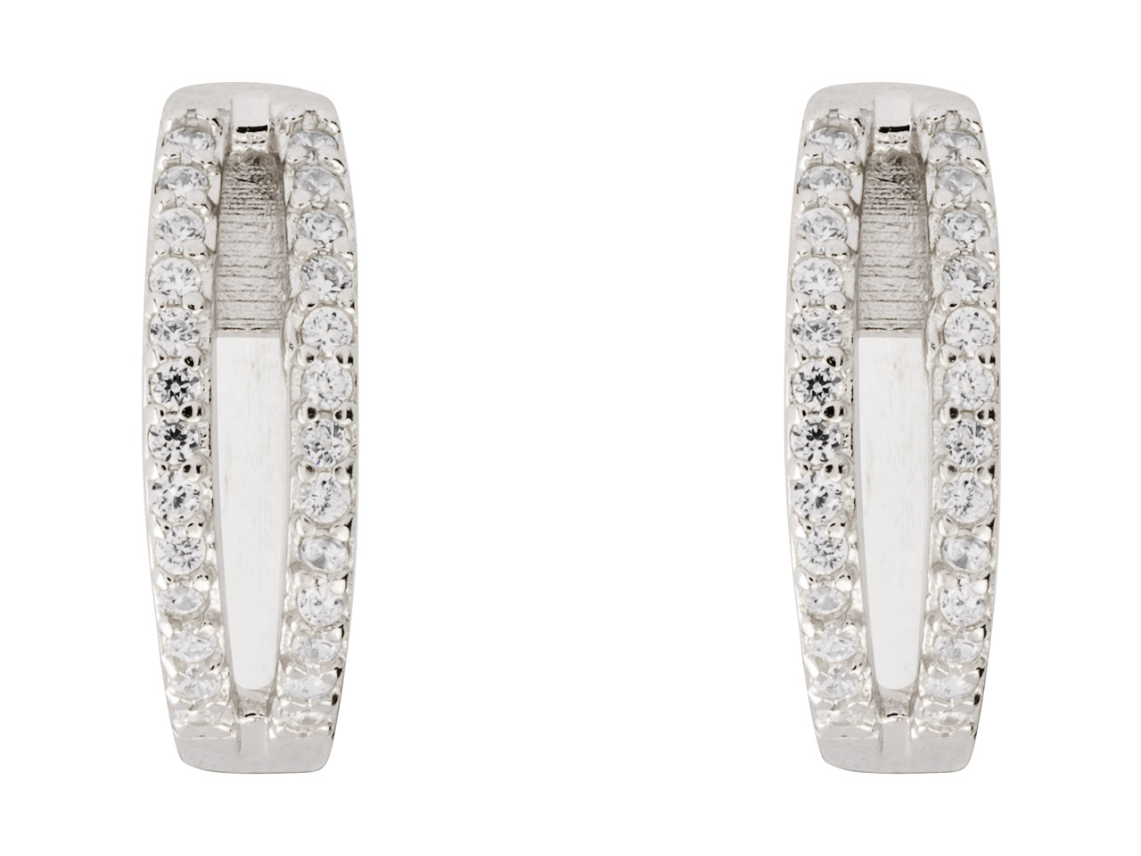 Sterling Silver Two Strand Hinged  Hoop Earrings Set With             Cubic Zirconia