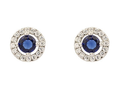 Sterling Silver Round Halo Stud    Earrings With Blue And White       Cubic Zirconia